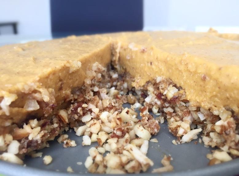 Vegan Pumpkin Pie Cheesecake - sliced