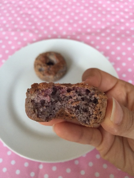 Berry & Lemon Mini Donuts - eating